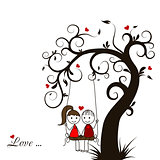 Love story card, vector