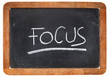 focus word on blackboard