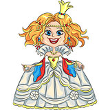 vector cartoon funny princess with a golden crown