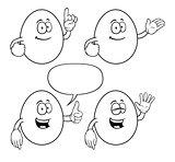 Black and white smiling cartoon eggs