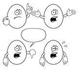 Black and white crying cartoon eggs