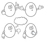 Black and white thinking cartoon eggs