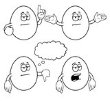 Black and white bored cartoon eggs