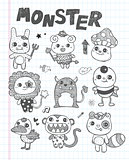 doodle cute monster icons