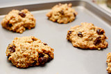 Freshly baked oatmeal raisin cookies