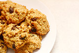 Plate of delicious oatmeal raisin cookies