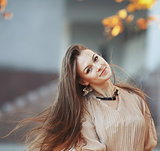 young woman with gorgeous windy hair