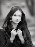 Fashion street portrait of young beautiful woman