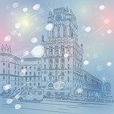Vector Christmas winter cityscape of a city-center