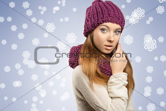 adorable girl with winter clothes