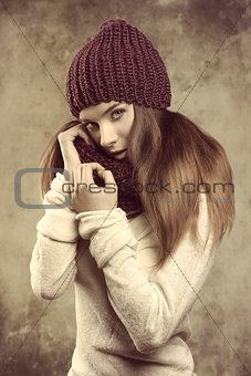 pretty girl in winter fashion shoot