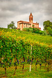 Scenic view of vineyards and old church in Piemont area, Italy