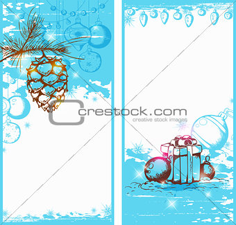 Blue Christmas vertical banners