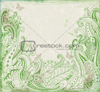 Green abstract  floral  background