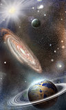 Planets and galaxies in space