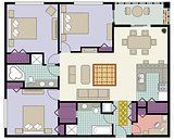 Vectorof 3 bedroom condo with furniture