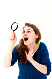 woman face think an look up and with magnifying glass