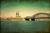 View on Cologne Cathedral and Bridge,