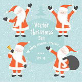 Vector Christmas set of Santa Claus in various poses and seamless texture.