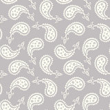 Grey and White Seamless Paisley Pattern