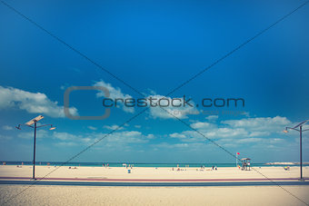 beach with tourists