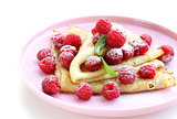 pancakes (crepes) with raspberries