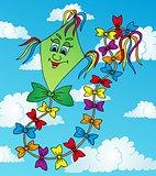 Green kite on sky