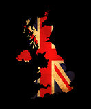 United Kingdom grunge map outline with flag