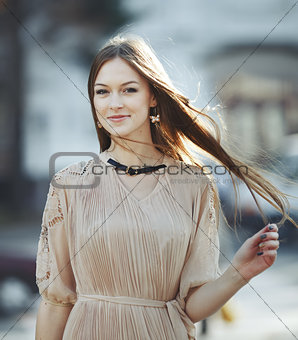 Beautiful young woman with gorgeous long hair.