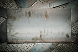 Closeup of metal sheet and metal diamond plate, texture backgrou