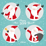 Vector Christmas set of Santa Claus.