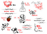 Valentine's day symbols and headers