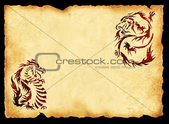 Ancient parchment with the image of dragons