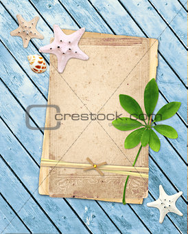 Old cards on wooden planks