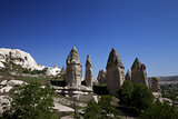 Fairy chimneys rock formations in Cappadocia