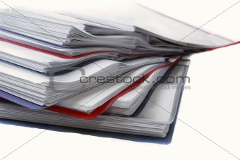 folder with documents over white