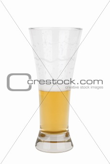 Half a glass of light beer