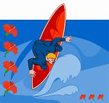 Surfer dude on blue background