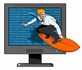 Businessman surfing the internet