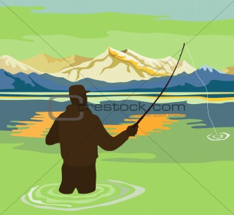 Fly fishing with mountains in the background