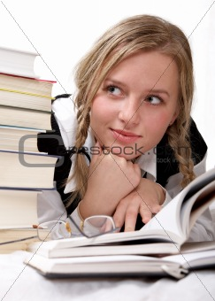 schoolgirl or student reading