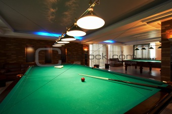 billiard table in a night club
