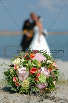 bouquet, bride and groom