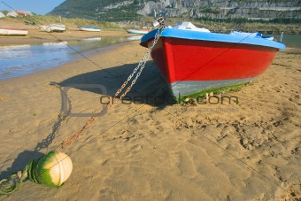 Boats Moored At The Beach Islares