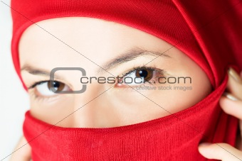 young woman  in red veil
