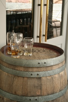 Beer Glasss on a Barrel