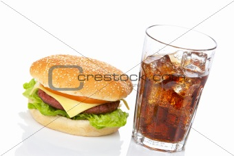 Cheeseburger and soda glass