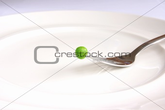 Single fresh green pea above white plate on fork.