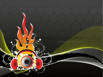 abstract flame background, stereo headphone