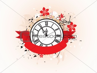 abstract grunge floral vector clock